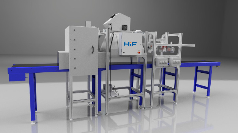 Versuchsanlage zur Charakterisierung sekundärer Rohstoffe auf einem Förderband am Helmholtz-Institut Freiberg für Ressourcentechnologie (HIF).