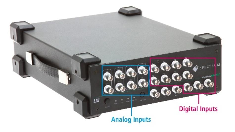 BNC-Anschlüsse an der Vorderseite ermöglichen den einfachen Zugriff auf alle acht analogen und elf digitalen Eingänge.