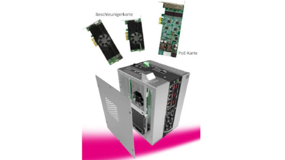 Über PCIe x4 Gen3 lässt sich eine Beschleunigerkarte integrieren, so ist der PC für KI-Inferenz-Anwendungen am Edge einsetzbar.