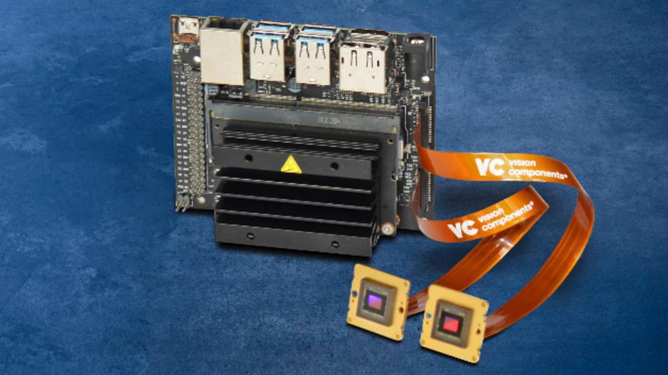 Macht die Embedded-Vision-Entwicklung einfach: Das VC-MIPI-Starter-Paket mit Kamera, Kabel und Treiber für das »Jetson-Nano«-Developer-Kit von Nvidia.