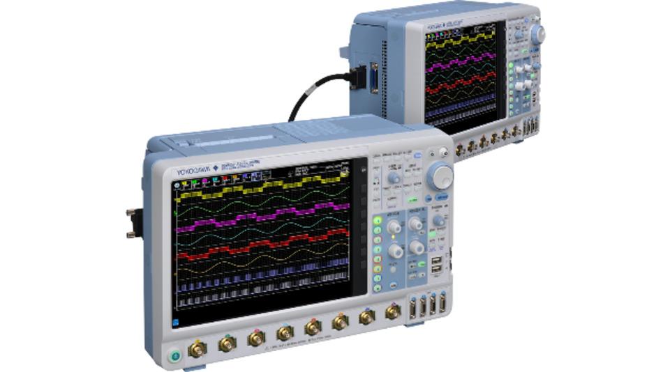 Über ein zusätzliches Kabel lassen sich Takt- und Trigger von zwei DLM5000 synchronisieren, um die Anzahl an Messkanälen auf maximal 16 zu erhöhen. Es können auch 4-Kanal- mit 8-Kanal-Geräten zusammengeschaltet werden.