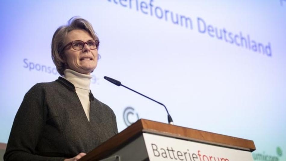 Bundesforschunsministerin Anja Karliczek auf dem Batterieforum Deutschland im Januar 2019.