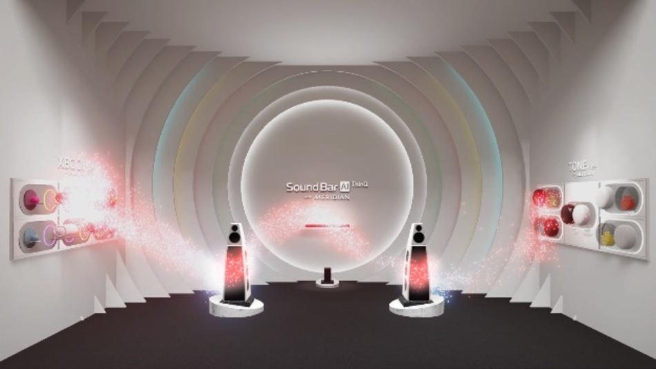 Untermalt wird die Präsentation von dreidimensionalen Klängen, die mittels Meridian Audio-Technologie von LG Soundbars und Lautsprechern erzeugt werden.