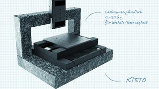 Der Messtisch KT510 garantiert eine lastunabhängige Genauigkeit von ±1 μm. Erreicht wird dies durch konstruktive Features wie Pyramiden-Architektur sowie dem patentierten Strukturinterface zur optimalen Justage.