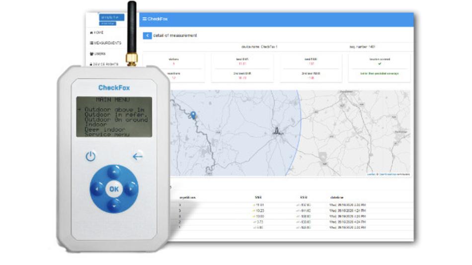 Der tragbare Messempfänger für das Sigfox-Netz CheckFox von Simple Hardware verknüpft die gemessene Empfangsqualität mit dem Standort (GPS).