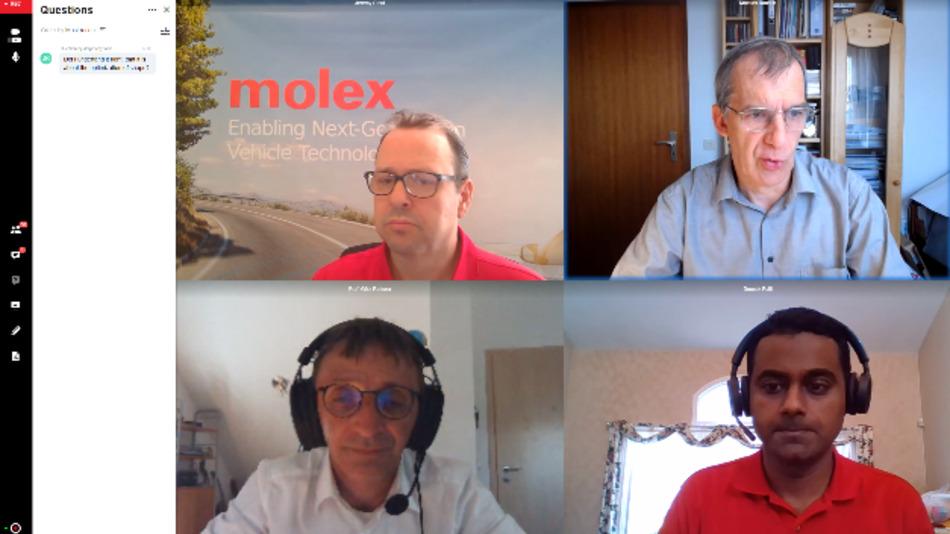 Per Live-Schalte aus den USA gab das Referenten-Duo Jeremy Stout (links oben) und Dr. Deepak Patil (rechts unten) von Molex in der Abschluss-Keynote Einblicke in die Physik der Kontakte. Die Q&A-Session leiteten Prof. Dr. Mathias Rausch und Pro. Götz Roderer von der HS Landshut.