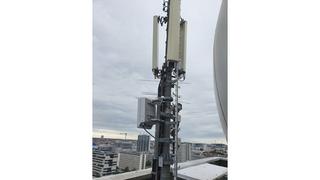 Antenne im 5G-Testfeld auf dem Gelände der TU Berlin Charlottenfeld.