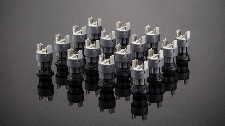 Kontaktgeber der Baureihe FRTF und FRTP lassen sich mit allen Schlegel-Betätigern mit einem Hülsenbund von 16 mm und einem Hub von bis zu 3 mm kombinieren.