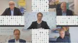 Die Teilnehmer des CEO-Roundtable auf der electronica virtual 2020: Jean-Marc Chery, STMicroelectronics, Gunther Kegel,  Pepperl+Fuchs, Kurt Sievers, NXP, Reinhard Ploss, Infineon, (im Uhrzeigersinn). In der Mitte Moderator Joachim Hofer vom Handelsb
