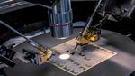 Detailaufnahme einer Kalibrations-Platine im Wafer-Prober, einem Gerät für elektrische Tests einzelner Chips auf Wafer- oder Platinenbasis.