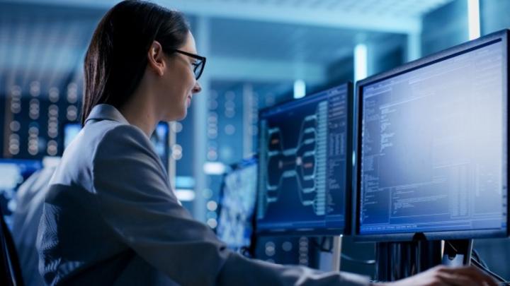 Monitoring, Frau vor Bildschirm
