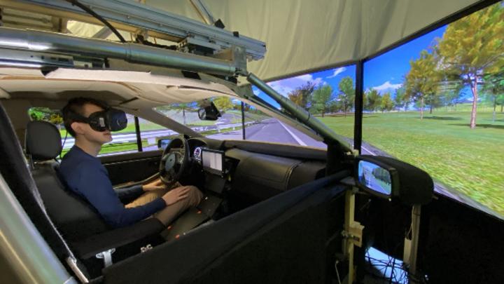 Prüfstand zum Testen der verschiedenen Konzepte für den Fahrzeuginnenraum.