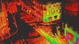 Per LiDAR von Ibeo aufgenommene Punktwolke einer innerstädtischen Kreuzung.