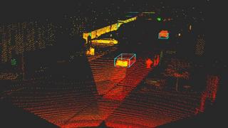 Per LiDAR-Sensor ermittelte Punktewolke, die eine Straßenszene mit Autos im städtischen Umfeld zeigt.
