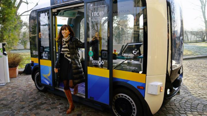 Demo eines autonomen, elektrischen Shuttles – hier in Turin im Januar 2020.