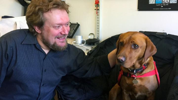 Andreas Mershin in seinem Büro am MIT neben einem Hund, der auf das Erschnüffeln von Krankheiten trainiert ist. Er wurde von der britischen Organisation Medical Detection Dogs ausgebildet.
