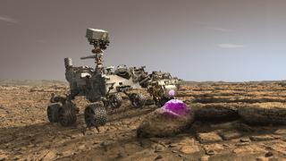 Der NASA-Marsrover Perseverance nutzt auf diesem Bild ein Röntgenspektrometer, das bei der Suche nach Anzeichen für urzeitliches mikrobielles Leben in Gesteinen hilft.
