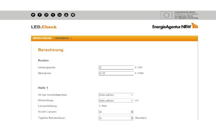Individuelle Werte eingeben und Sparpotential ausrechnen lassen - mit dem LED.Check der EnergieAgentur.NRW