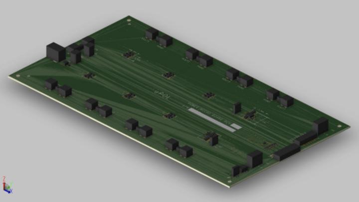3D-Ansicht einer dezentralen Stromversorgung mit POL-DC/DC-Wandlern von TDK.