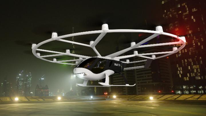 Das Flugtaxi Velocity von Volocopter hebt ab.