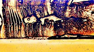 Randbereich  eines optisch gebondeten Displays, der sich in einem ziemlich desolaten Zustand befindet.