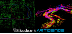 Point cloud maps and trajectory on the map created by Kudan visual SLAM (left) and Kudan Lidar SLAM (right)