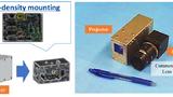 Bild 2. (Links) Toshibas Know-how half bei der kompakten und hochdichten Montage des LiDAR-Moduls. (Rechts) Der LiDAR-Prototyp ist der nach Angaben von Toshiba branchenweit kleinste mit 350 cm³ Volumen.