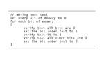 Mit dem »Moving Ones«-Test lässt sich jedes Bit im Speicher prüfen, ob ein Bit »klemmt« und ob es ein Übersprechen auf andere Bits gibt. Ist der Speicheraufbau bekannt, kann der Test optimiert werden, um schneller abzulaufen