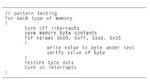 Dieser Test erlaubt eine wortweise Prüfung des Speichers im normalen Betrieb, die im Hintergrund läuft, und mit Bitmustern den Speicher auf festsitzende Bits und wortinternes Übersprechen überprüft