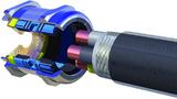 Schematische Darstellung des Skintop MS-M Brush: In einem einzigen Arbeitsgang wird das Kabel zentriert, fixiert, zugentlastet und hermetisch abgedichtet.