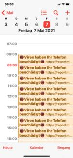 Auf iOS-Geräten überfluten diese Links die Opfer nicht nur mit unerwünschter Werbung, sondern können auch Ereignisse in den Kalendern der Opfer erstellen.