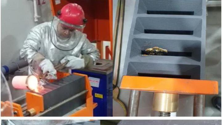 Erster Goldbarren – hergestellt in der Recyclinganlage von Aurus.