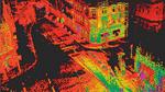 Von einem LiDAR-System erzeugte Pointcloud an einer innerstädtischen Kreuzung