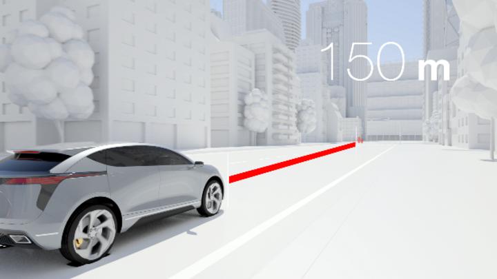 Das ICON-Digital-Radar von Magna erkennt Fußgänger in bis zu 150 Metern Entfernung.