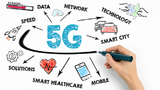 5g tehnology concept. Chart with keywords and icons on white background