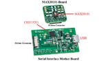 Die beiden Platinen des MAX30101-Entwicklungskits mit der Sensorikbaugruppe (oben) und der Schnittstellenplatine (unten).