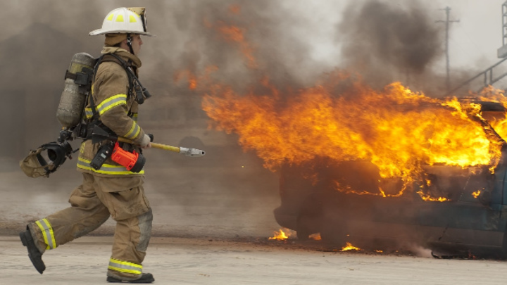 Auto Brand Feuerwehr