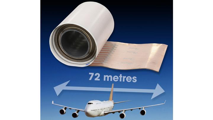 Flexible Leiterplatte mit 72 m Länge.