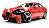 Rotes Auto mit beschädigter Front