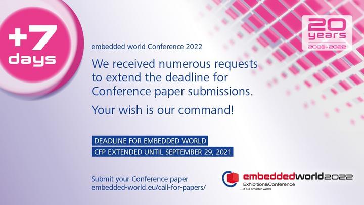 embedded world 2022: Deadline extended until September 29, 2021