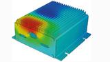 Temperaturverlauf in einem Gehäuse, dargestellt mittels computergestützter Wärmesimulation