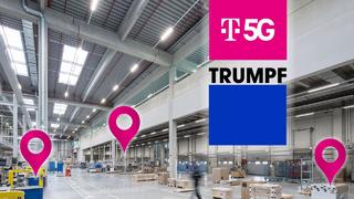 Telekom und Trumpf kooperieren im Bereich der Ortungssysteme für die vernetzte Industrie in 5G-Campus-Netzen.