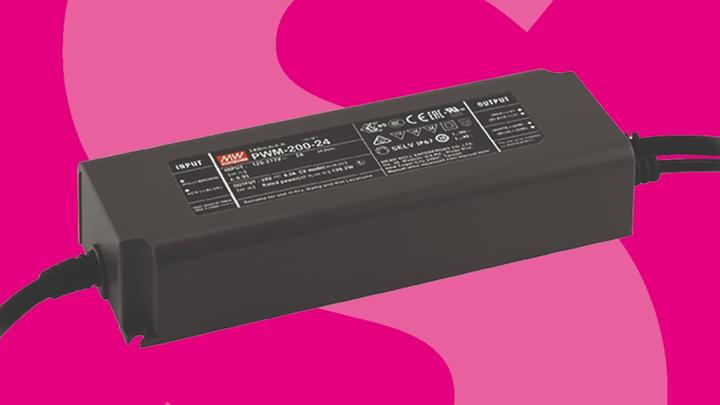 Die neuen 200-W-LED-Schaltnetzeile von Mean Well erfüllen Schutzklasse II und IP67