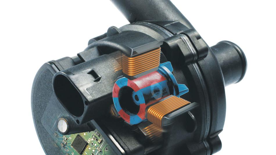 Bild 1. Elektrisch angetriebene Wasserpumpe mit integrierter Elektronik.