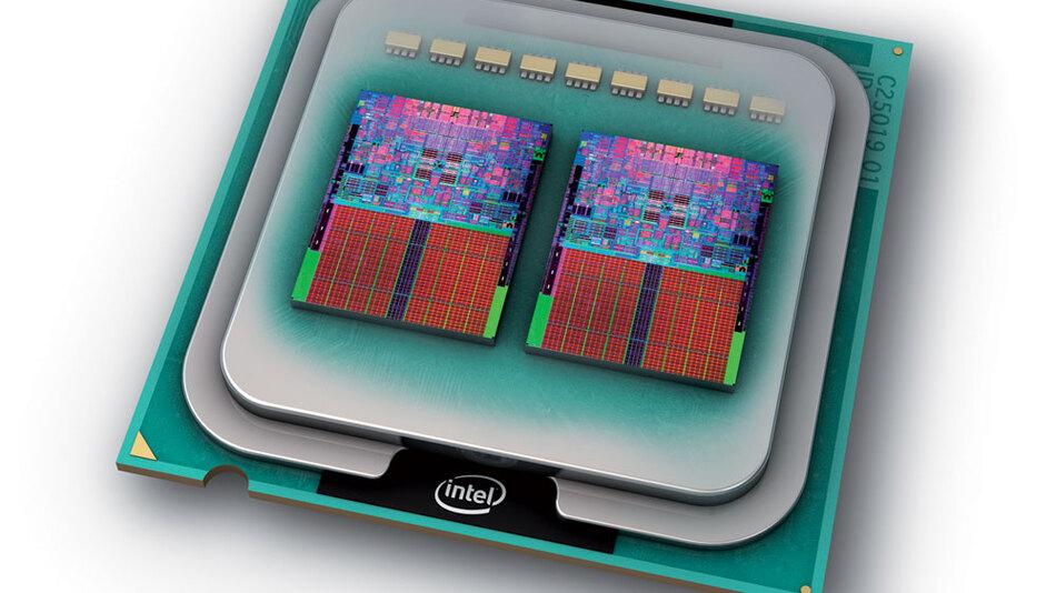 """Bild 1. Der Vierkern-Prozessor """"Core 2 Quad"""" integriert im Prinzip zwei Dual-Core-Prozessoren in einem Gehäuse."""