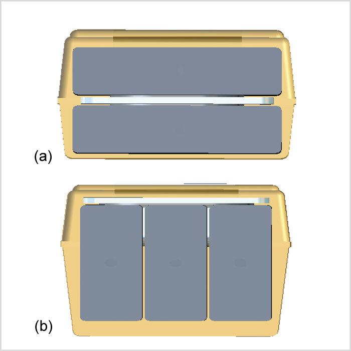 Bild 2: Querschnitt durch einen Multianoden-Kondensator: (a) vertikale Anordnung, (b) horizontale Anordnung