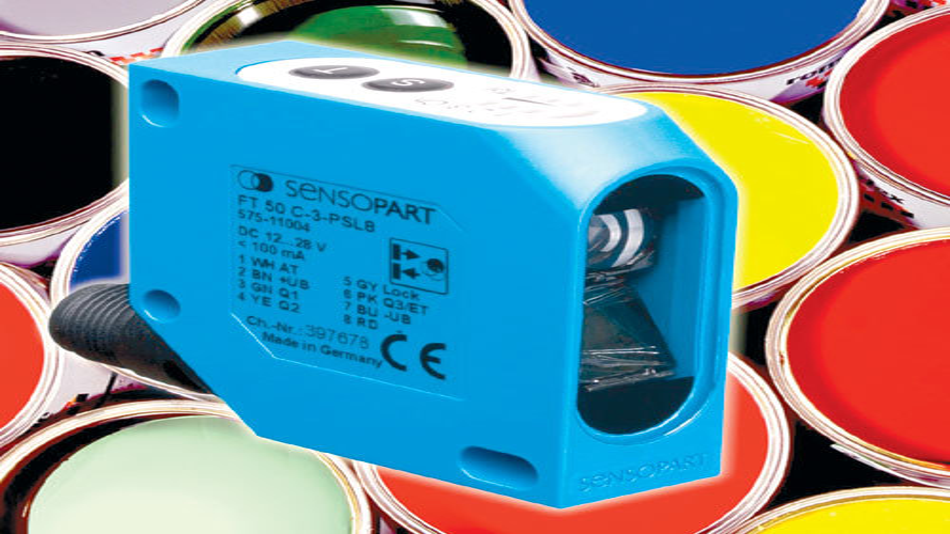 Bild 2. Eine spezielle Optik mit hoher Tiefenschärfe erlaubt beim Farbsensor FT50 C die sichere Farbbestimmung auch bei bewegten Objekten. (Bild: Sensopart)