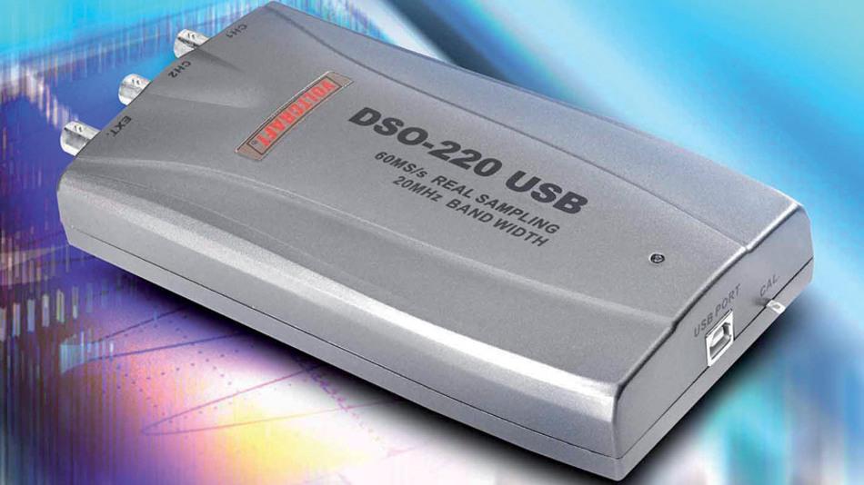 Bild 6. Typisches USB-Scope für Labor und Service: das USB 220 mit einer Abtastrate von 20 MS/s. (Foto: Conrad electronic)