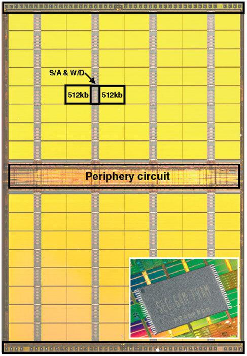Bild 5. Der 64-Mbit-Phasenwechselspeicher von Samsung wurde in einem 0,12-µm-CMOS-Prozess gefertigt. (Quelle: ISSCC/Samsung)