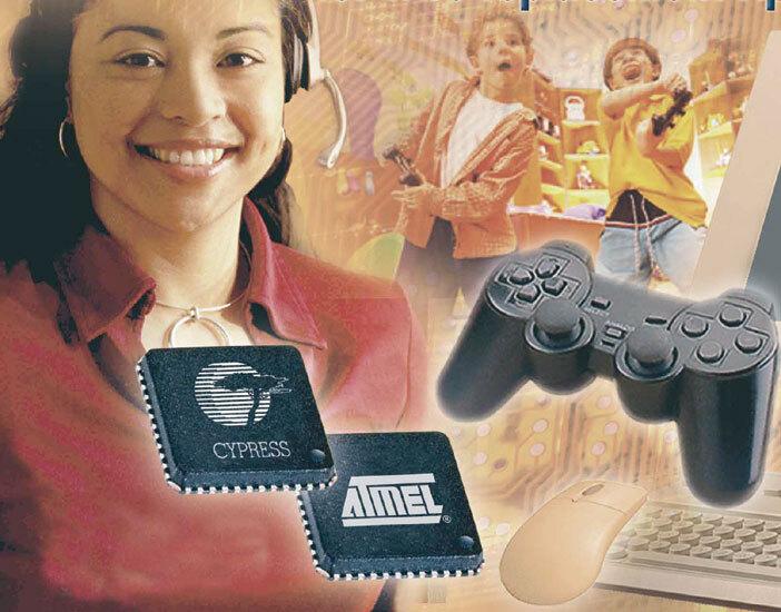 """Bild 4. """"WirelessUSB""""-Transceiver werden zur drahtlosen Datenübertragung mit niedrigen Übertragungsraten eingesetzt, z.B. bei PC-Tastaturen, Mäusen, Videospiel-Controllern, Fernbedienungen, Spielzeugen oder Sensoren. (Foto: Atmel/Cypress)"""